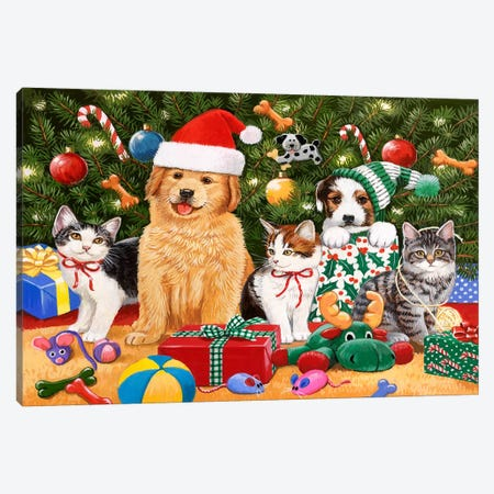 Puppies and Kittens Christmas Canvas Print #HOL58} by William Vanderdasson Art Print