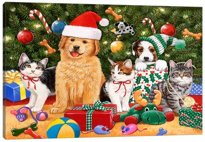 Puppies and Kittens Christmas Canvas Art Print