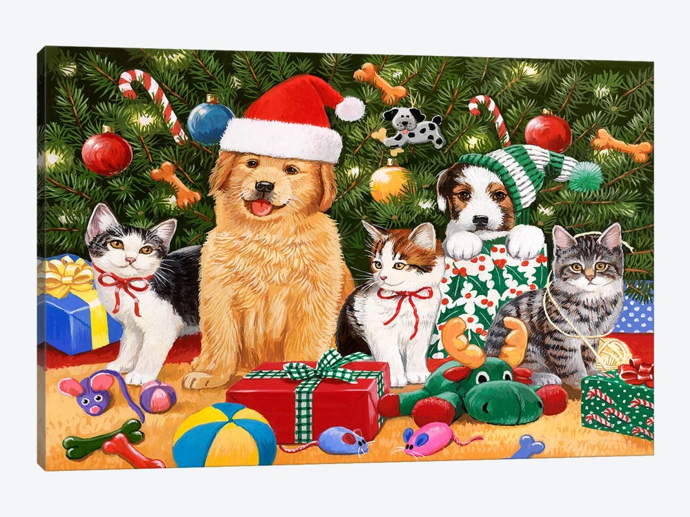 Puppies and Kittens Christmas by William Vanderdasson 1-piece Canvas Art