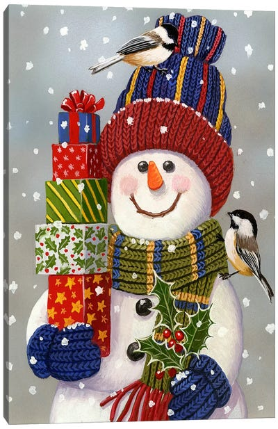 Snowman With Presents by William Vanderdasson Canvas Print