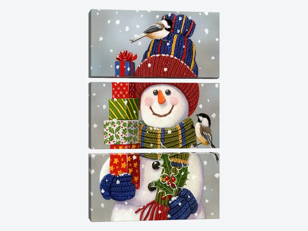 Snowman With Presents 3-piece Canvas Print