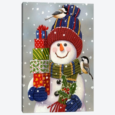 Snowman With Presents Canvas Print #HOL59} by William Vanderdasson Canvas Print