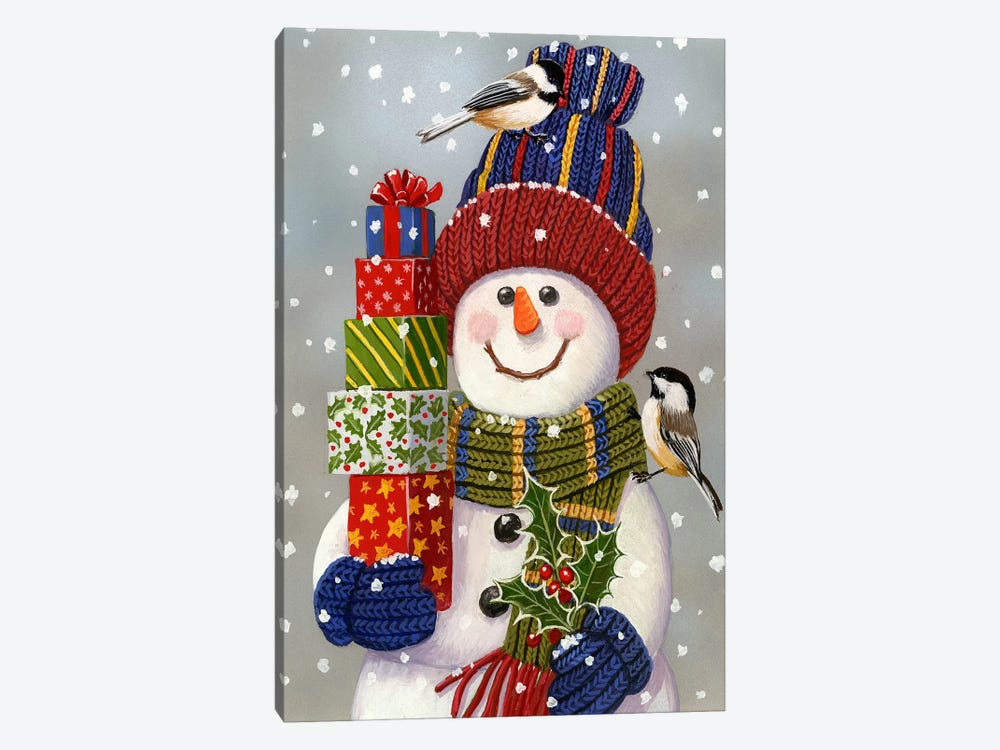 Snowman With Presents 1-piece Canvas Print