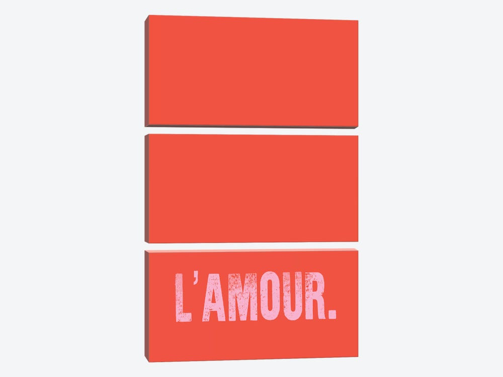 L'Amour. (Red) by Honeymoon Hotel 3-piece Canvas Art