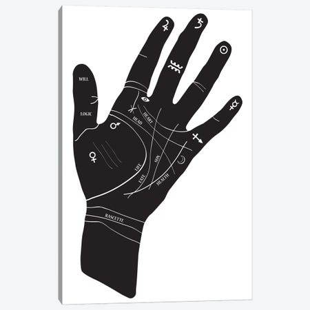 Palmistry Hand Symbols Canvas Print #HON197} by Honeymoon Hotel Canvas Art Print