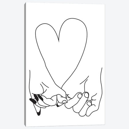 Pinky Promise, Him & Her Canvas Print #HON210} by Honeymoon Hotel Art Print