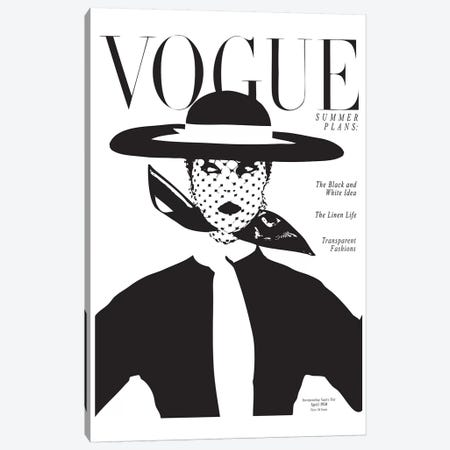 Vintage Vogue Cover, Black And White Fashion Print Canvas Print #HON260} by Honeymoon Hotel Canvas Artwork