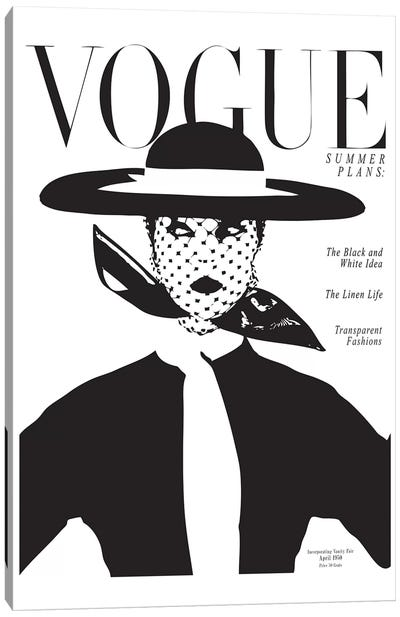 Vintage Vogue Cover, Black And White Fashion Print Canvas Art Print