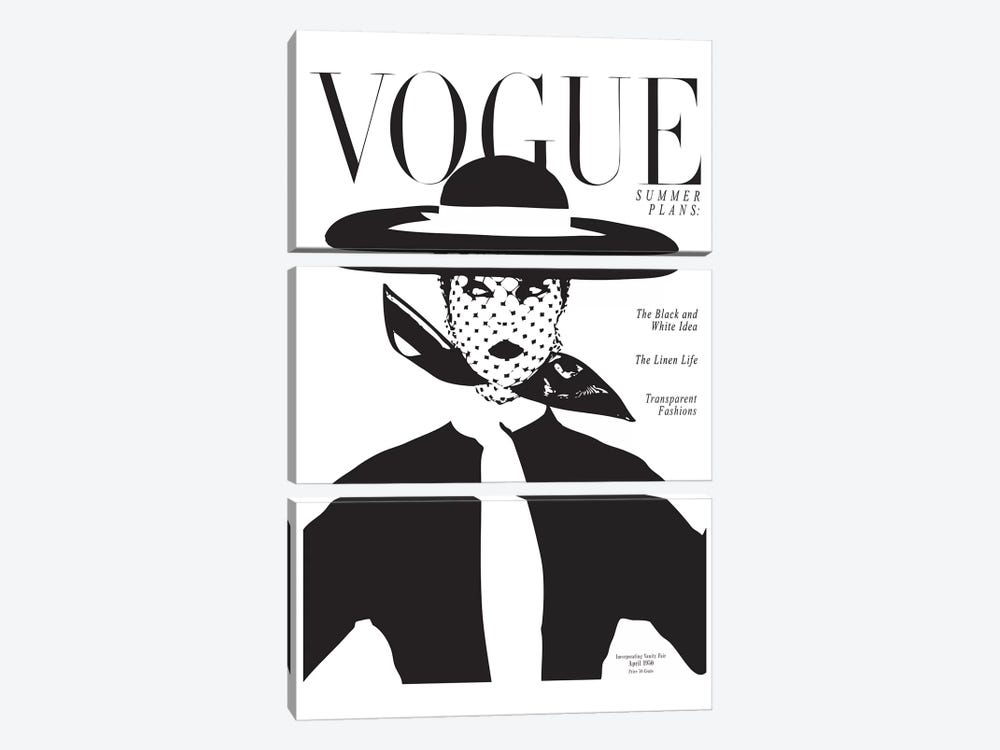Vintage Vogue Cover, Black And White Fashion Print by Honeymoon Hotel 3-piece Art Print