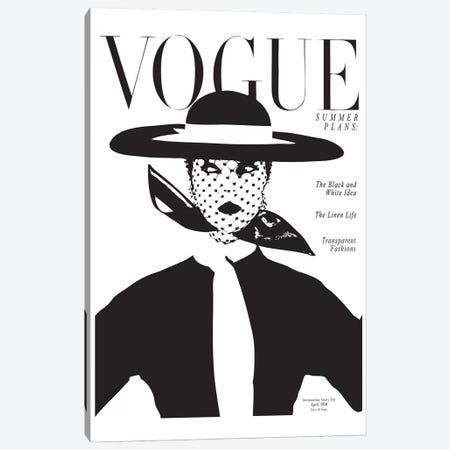 Vintage Vogue Cover, Black And White Fashion Print Canvas Print #HON260} by Honeymoon Hotel Canvas Artwork