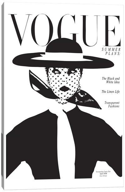 Vintage Vogue Cover, Black And White Fashion Print Canvas Art Print