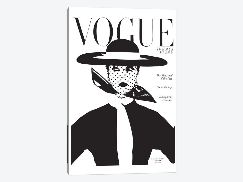 Vintage Vogue Cover, Black And White Fashion Print by Honeymoon Hotel 1-piece Canvas Print