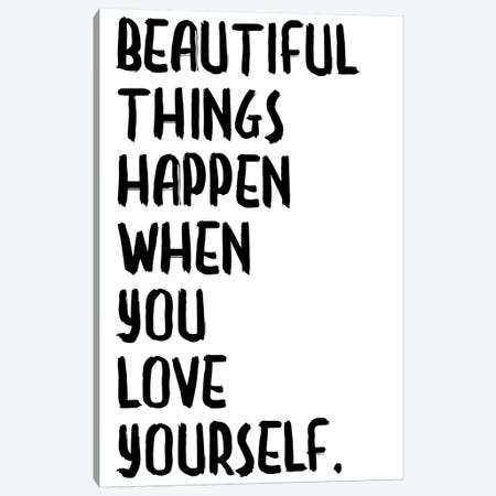 Beautiful Things Happen Canvas Print #HON29} by Honeymoon Hotel Canvas Art