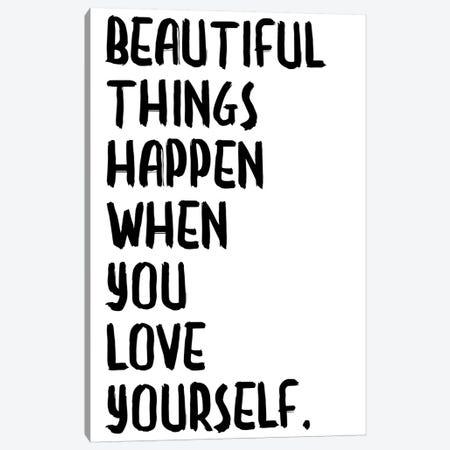 Beautiful Things Happen Canvas Print #HON29} by Honeymoon Hotel Canvas Art