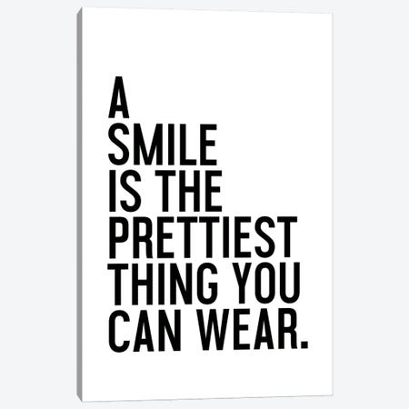 A Smile Is The Prettiest Canvas Print #HON2} by Honeymoon Hotel Art Print