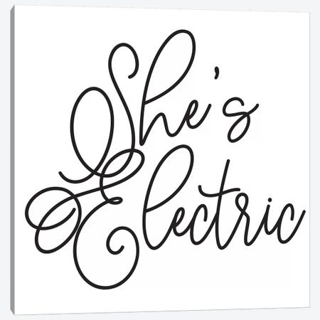 She's Electric White Canvas Print #HON428} by Honeymoon Hotel Canvas Wall Art