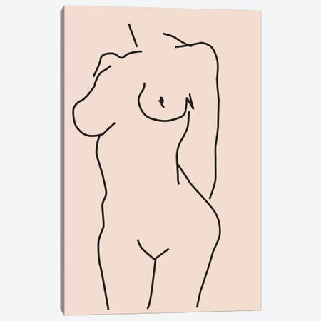 Nude II Canvas Print #HON454} by Honeymoon Hotel Canvas Artwork