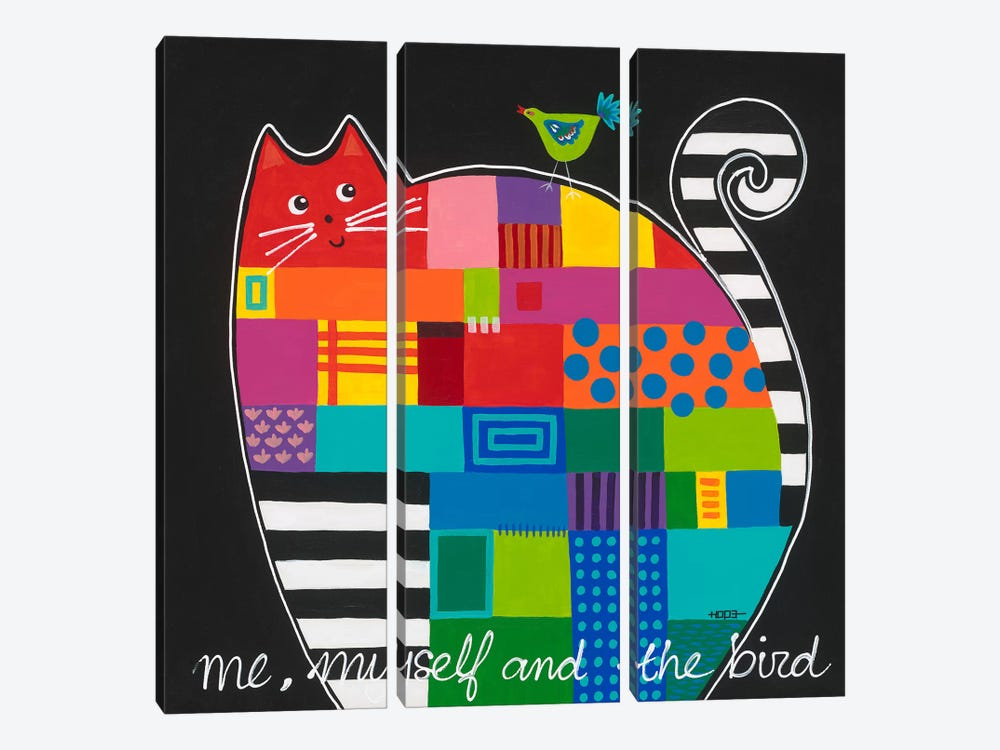 Me, Myself And The Bird by Yvonne Hope 3-piece Canvas Wall Art