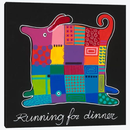 Running For Dinner Canvas Print #HOP15} by Yvonne Hope Canvas Artwork