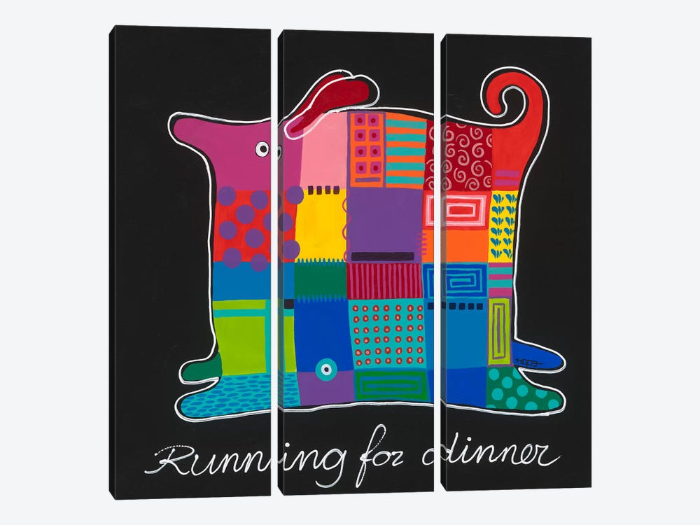 Running For Dinner by Yvonne Hope 3-piece Canvas Artwork