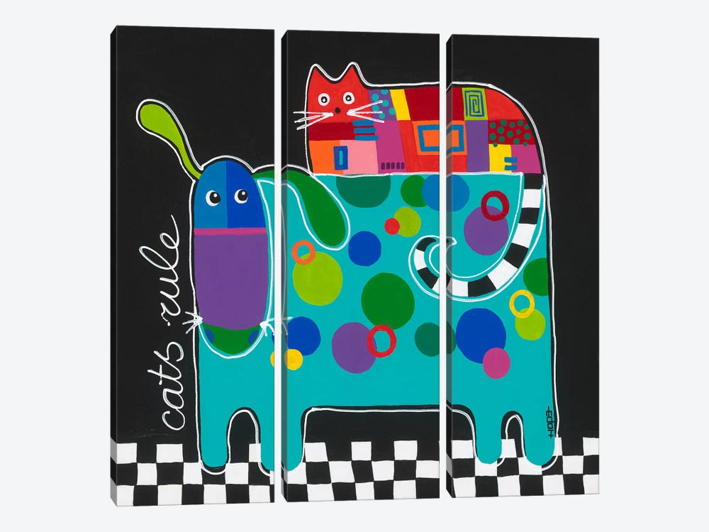 Cats Rule by Yvonne Hope 3-piece Canvas Art
