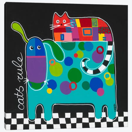 Cats Rule Canvas Print #HOP2} by Yvonne Hope Canvas Artwork