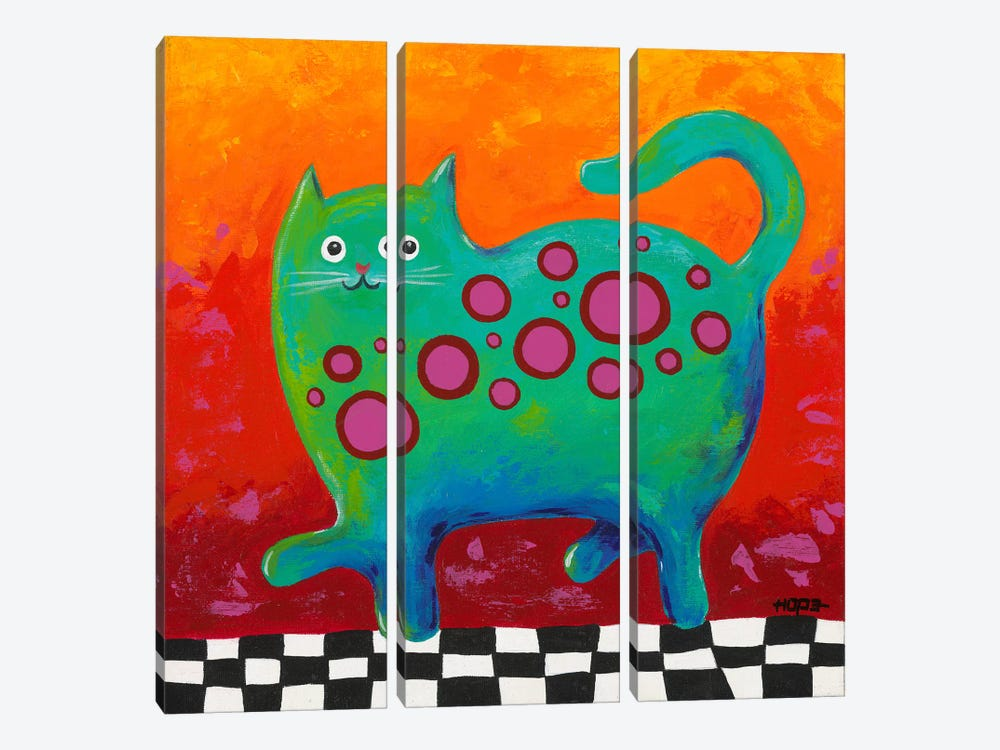 Funny Kitty by Yvonne Hope 3-piece Canvas Art Print