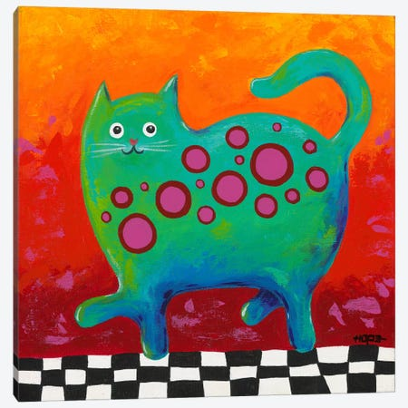 Funny Kitty Canvas Print #HOP3} by Yvonne Hope Canvas Wall Art