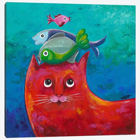Funny Kitty And Fish Canvas Print #HOP4} by Yvonne Hope Canvas Print