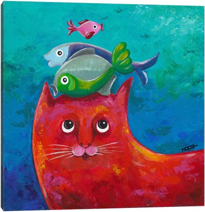 Funny Kitty And Fish Canvas Art Print
