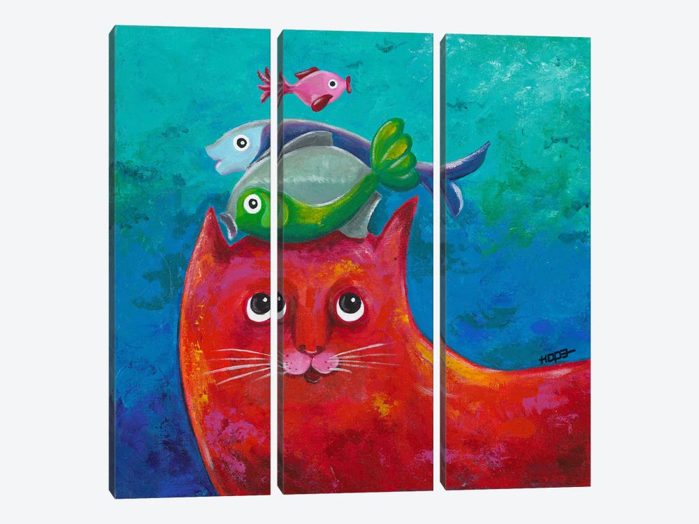 Funny Kitty And Fish by Yvonne Hope 3-piece Canvas Artwork
