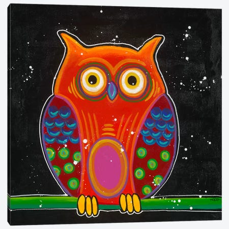 Funny Owl II Canvas Print #HOP6} by Yvonne Hope Canvas Art Print