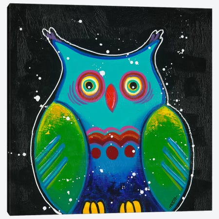 Funny Owl III Canvas Print #HOP7} by Yvonne Hope Canvas Print