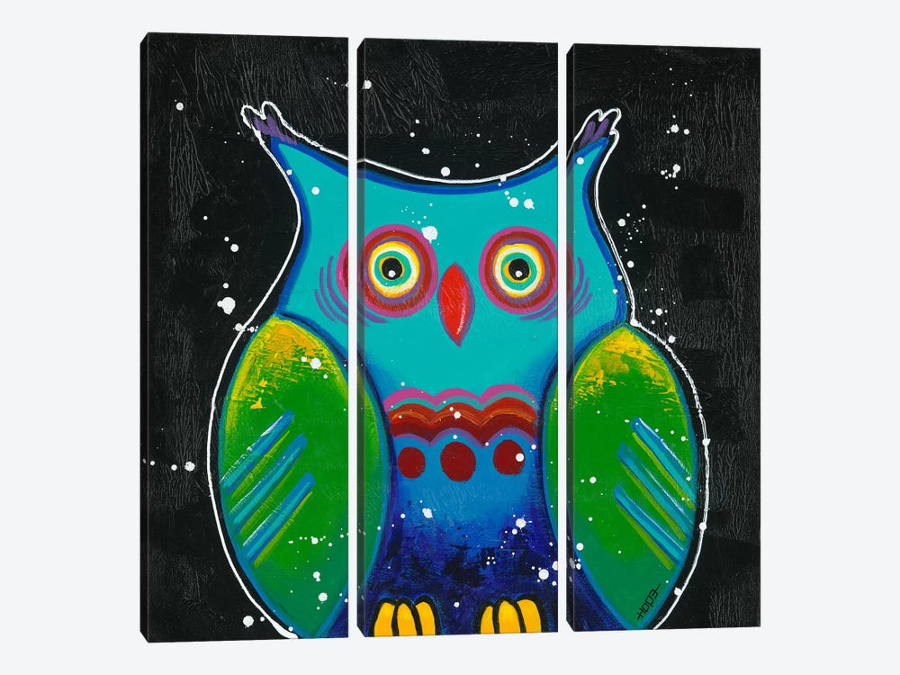 Funny Owl III by Yvonne Hope 3-piece Canvas Art Print