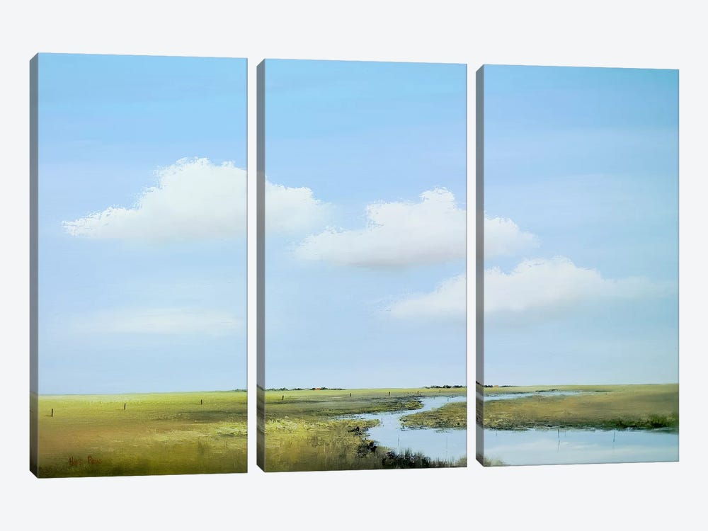 Down The River V by Hans Paus 3-piece Canvas Art Print
