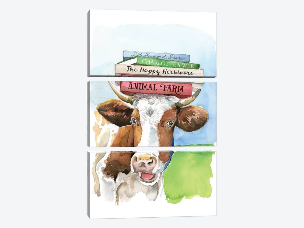 A Literary Cow by Heather Perry 3-piece Canvas Wall Art