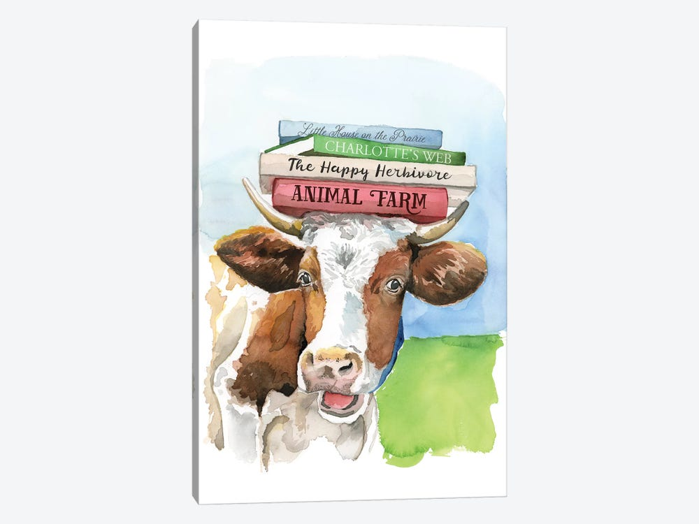A Literary Cow by Heather Perry 1-piece Canvas Wall Art