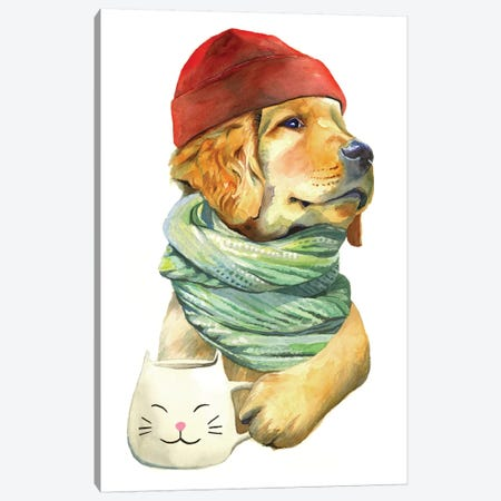 Puppaccino Canvas Print #HPE33} by Heather Perry Art Print