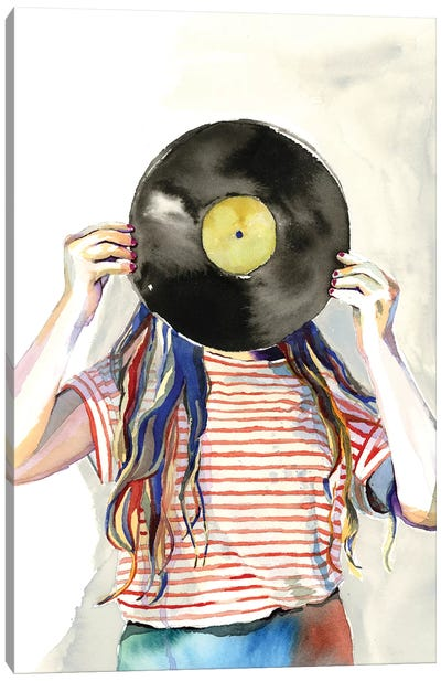 Record Head Canvas Art Print