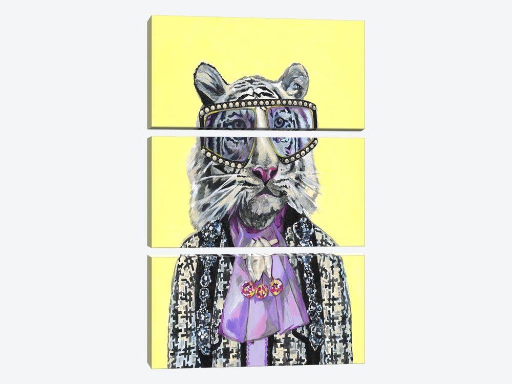 Gucci White Tiger by Heather Perry 3-piece Canvas Wall Art