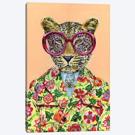 Gucci Leopard Canvas Print #HPE73} by Heather Perry Art Print