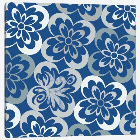 Flourished Floral in Blue & Grey Canvas Print #HPP10} by 5by5collective Canvas Art