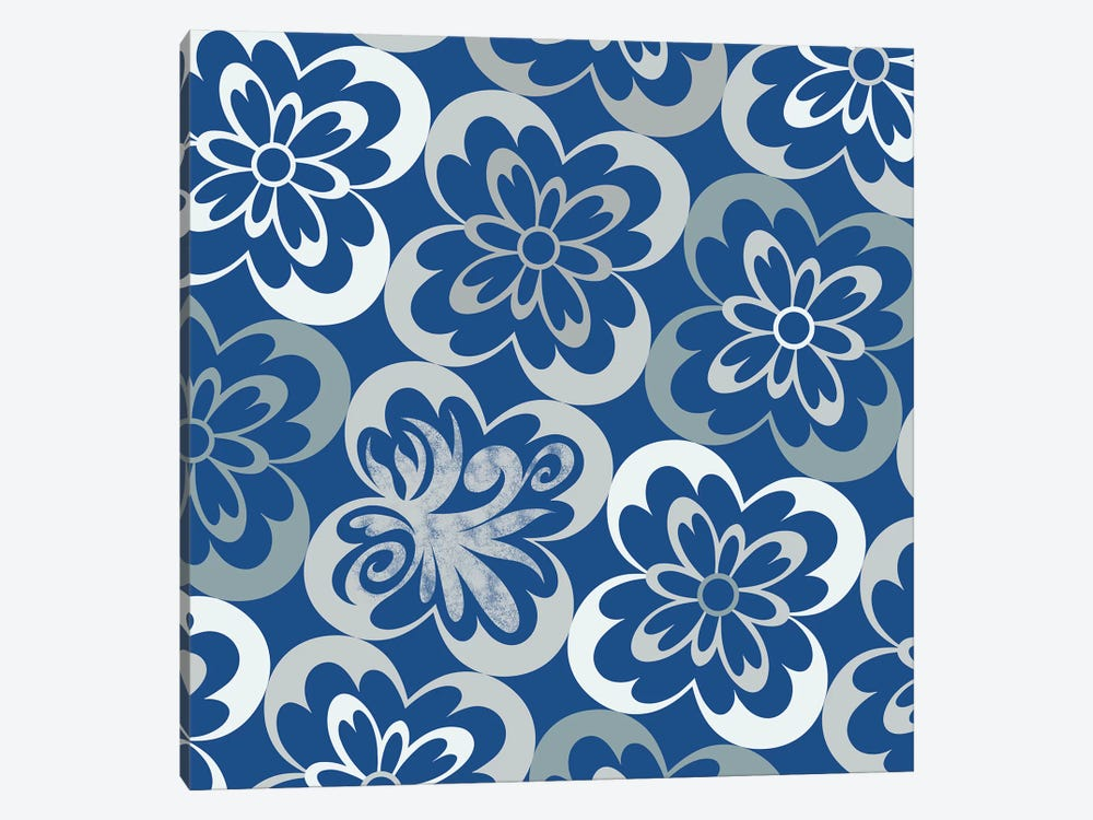 Flourished Floral in Blue & Grey by 5by5collective 1-piece Canvas Art