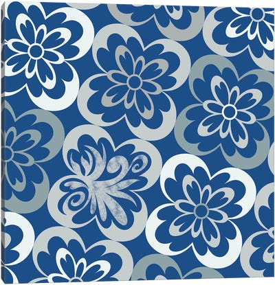 Flourished Floral in Blue & Grey Canvas Art Print