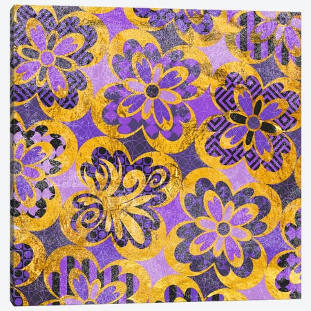 Flourished Floral in Gold & Purple Patterns Canvas Print #HPP11} by 5by5collective Canvas Artwork