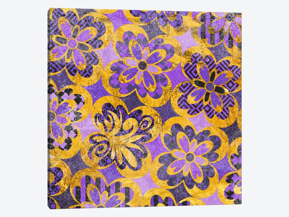 Flourished Floral in Gold & Purple Patterns by 5by5collective 1-piece Canvas Print