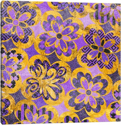 Flourished Floral in Gold & Purple Patterns Canvas Art Print