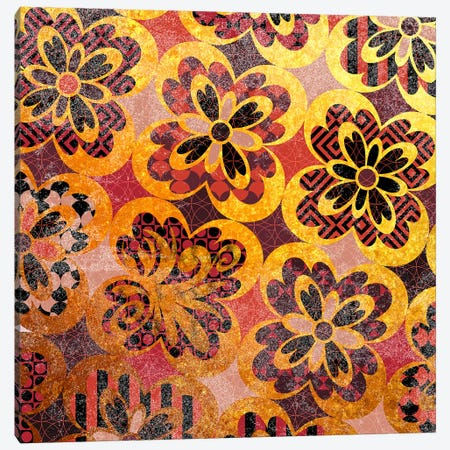 Flourished Floral in Gold & Red Patterns Canvas Print #HPP12} by 5by5collective Canvas Wall Art