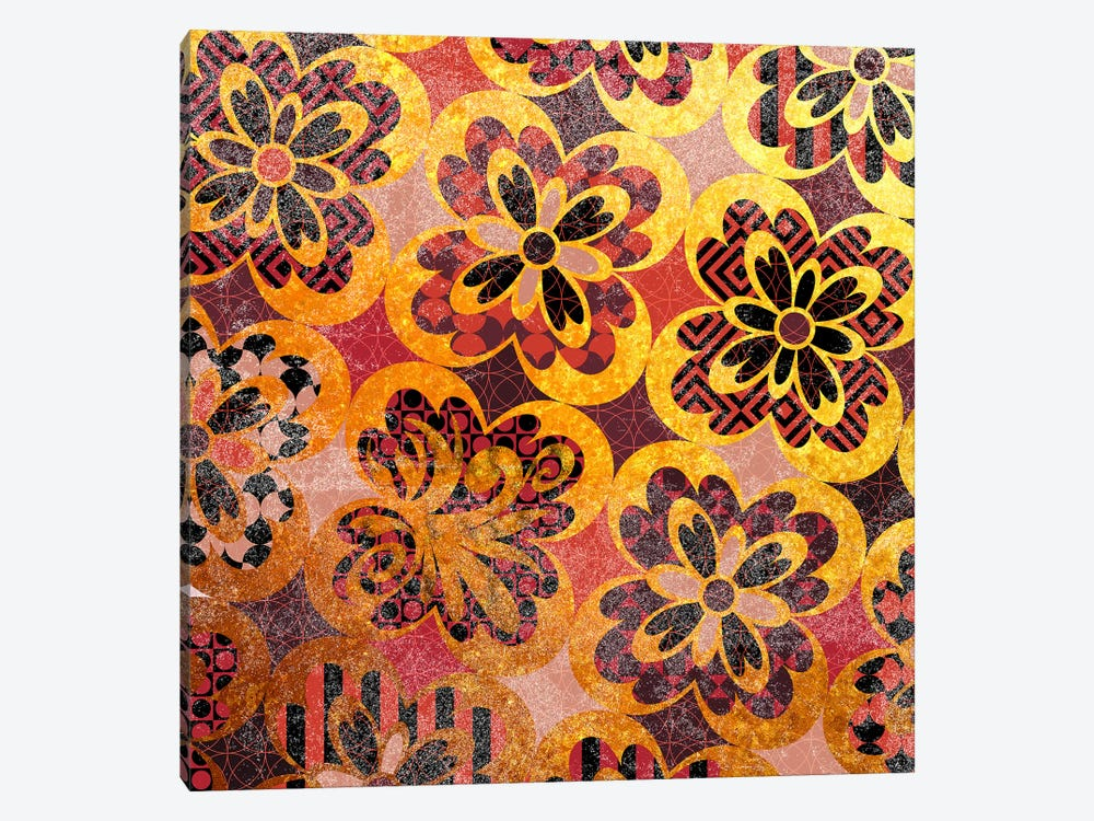 Flourished Floral in Gold & Red Patterns by 5by5collective 1-piece Canvas Art