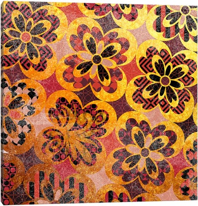 Flourished Floral in Gold & Red Patterns Canvas Art Print